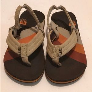 REEF KIDS AHI FLIP FLOPS w/ Stretch STRAP TAN 9/10